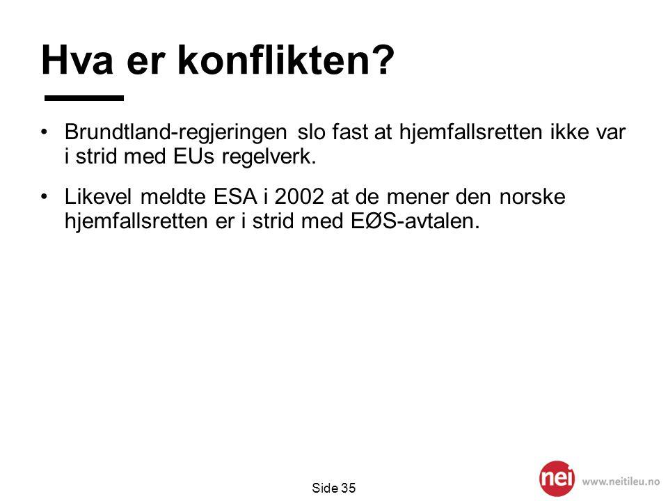 Hva er konflikten Brundtland-regjeringen slo fast at hjemfallsretten ikke var i strid med EUs regelverk.