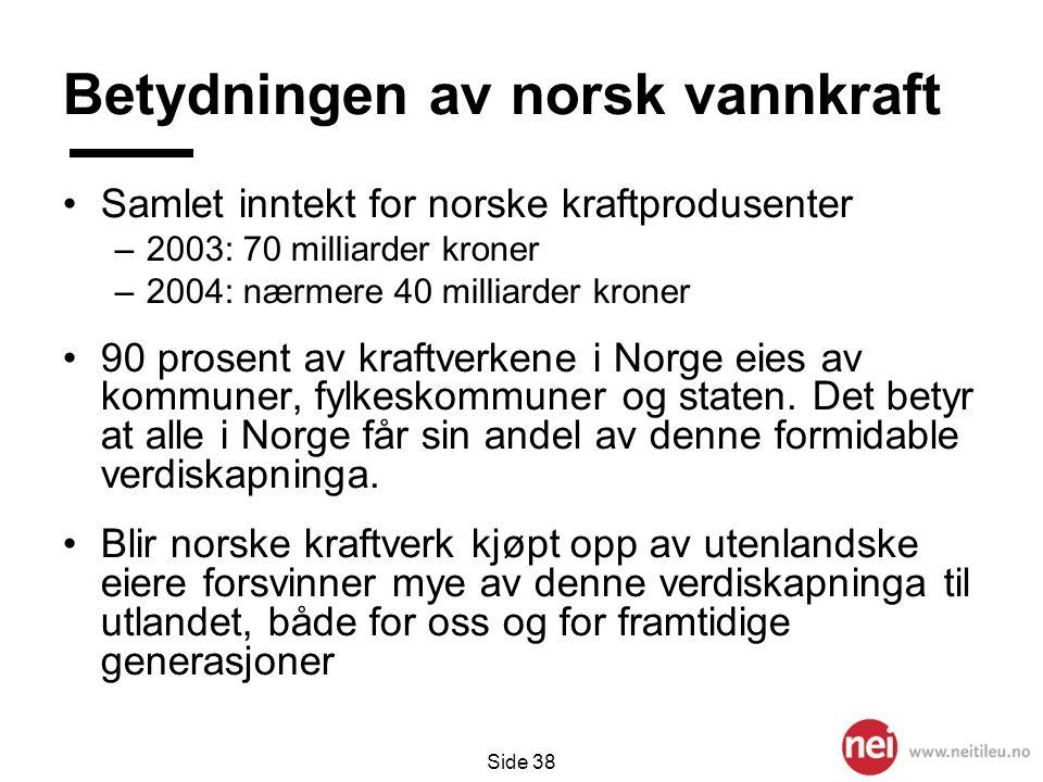Betydningen av norsk vannkraft