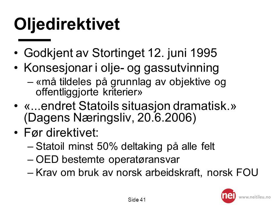 Oljedirektivet Godkjent av Stortinget 12. juni 1995