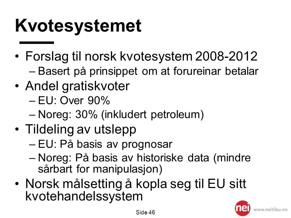 Kvotesystemet Forslag til norsk kvotesystem 2008-2012