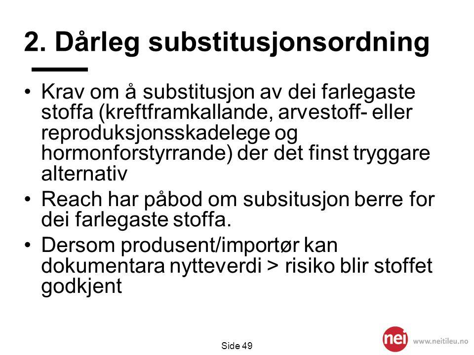 2. Dårleg substitusjonsordning