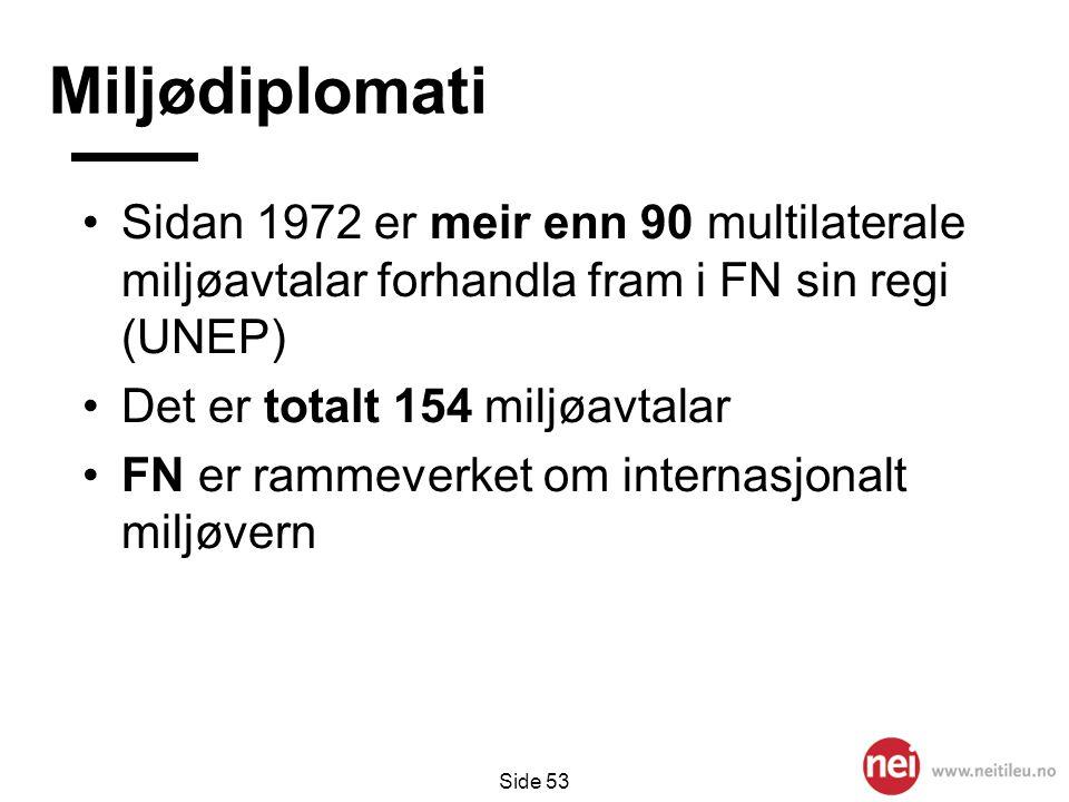 Miljødiplomati Sidan 1972 er meir enn 90 multilaterale miljøavtalar forhandla fram i FN sin regi (UNEP)