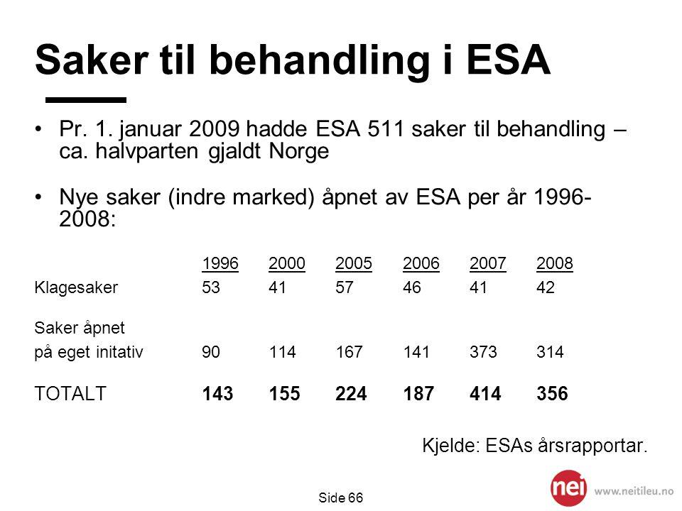 Saker til behandling i ESA