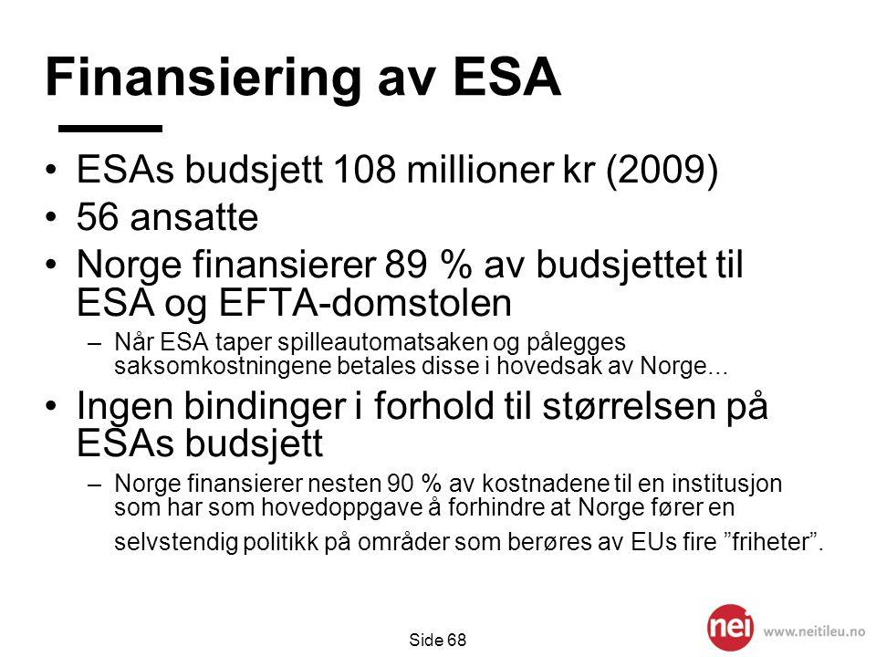 Finansiering av ESA ESAs budsjett 108 millioner kr (2009) 56 ansatte
