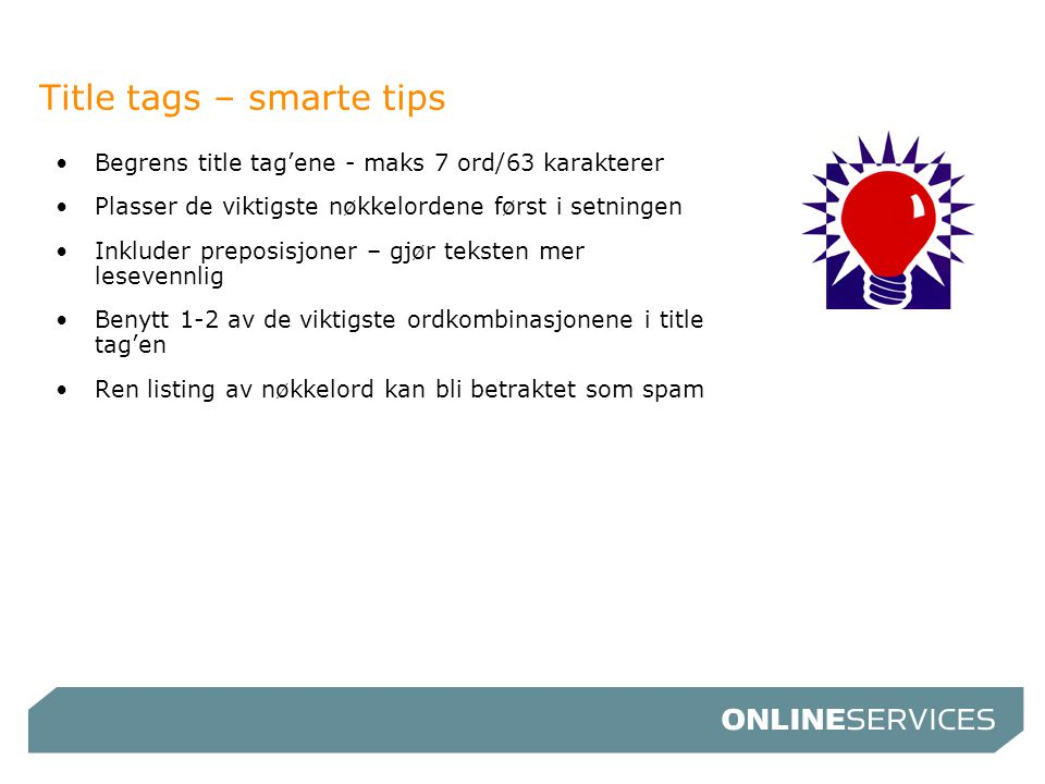 Title tags – smarte tips