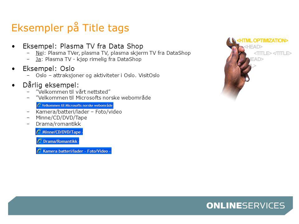 Eksempler på Title tags