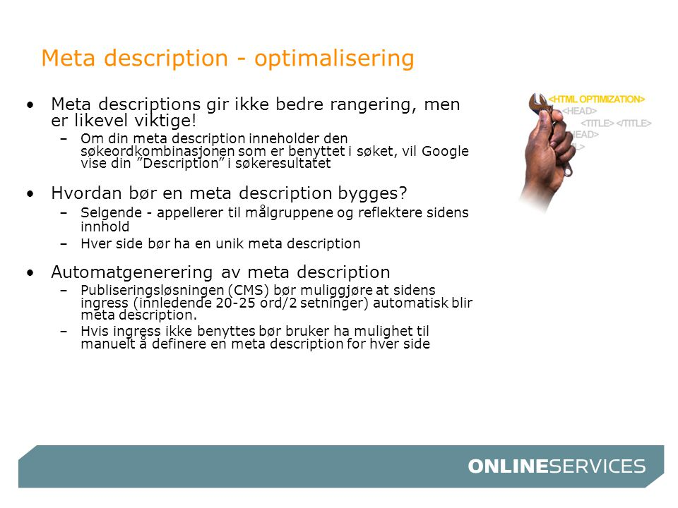 Meta description - optimalisering