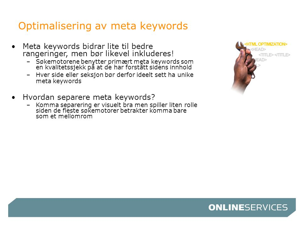 Optimalisering av meta keywords