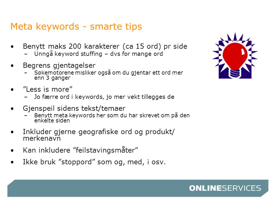 Meta keywords - smarte tips