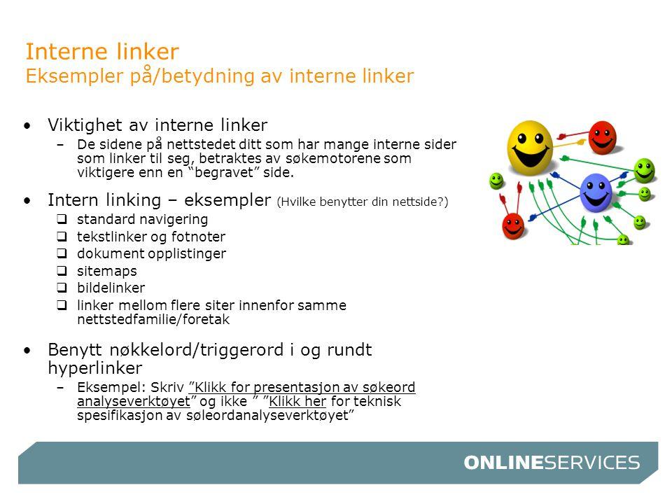 Interne linker Eksempler på/betydning av interne linker