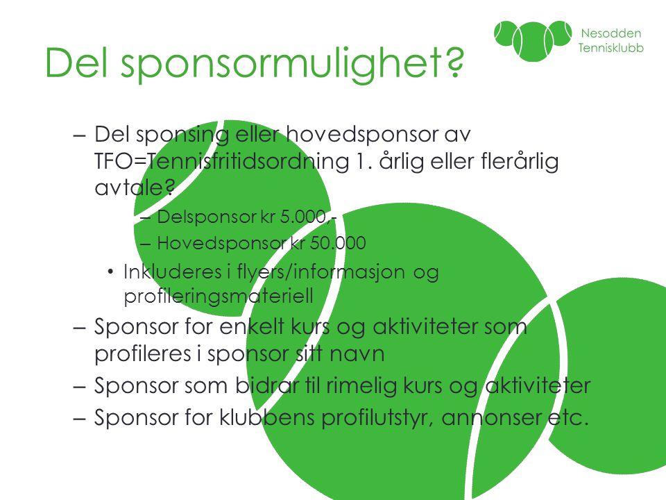 Del sponsormulighet Del sponsing eller hovedsponsor av TFO=Tennisfritidsordning 1. årlig eller flerårlig avtale