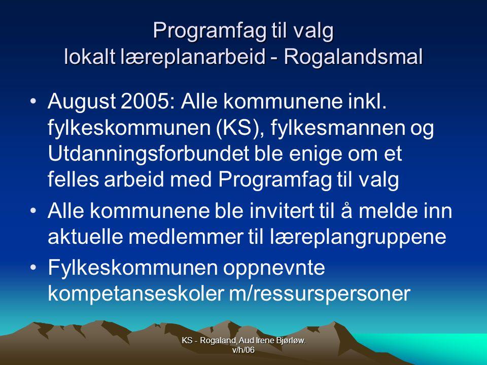 Programfag til valg lokalt læreplanarbeid - Rogalandsmal