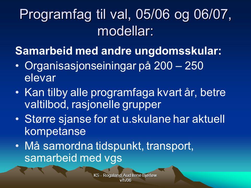 Programfag til val, 05/06 og 06/07, modellar: