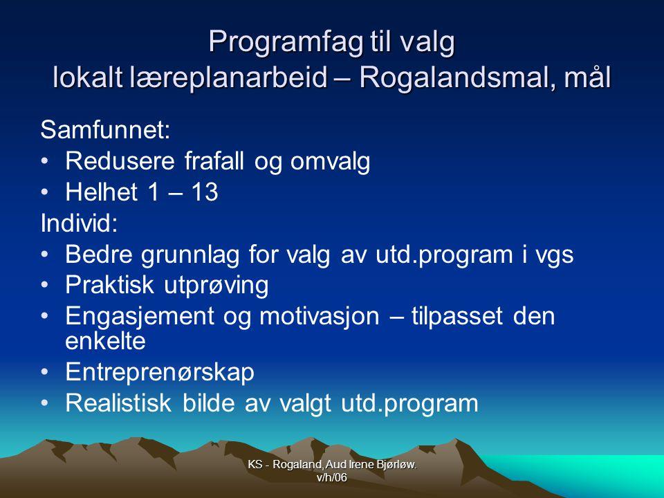 Programfag til valg lokalt læreplanarbeid – Rogalandsmal, mål