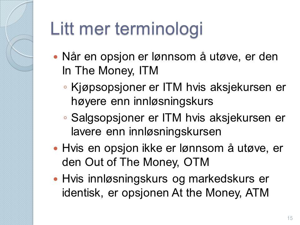 Litt mer terminologi Når en opsjon er lønnsom å utøve, er den In The Money, ITM.