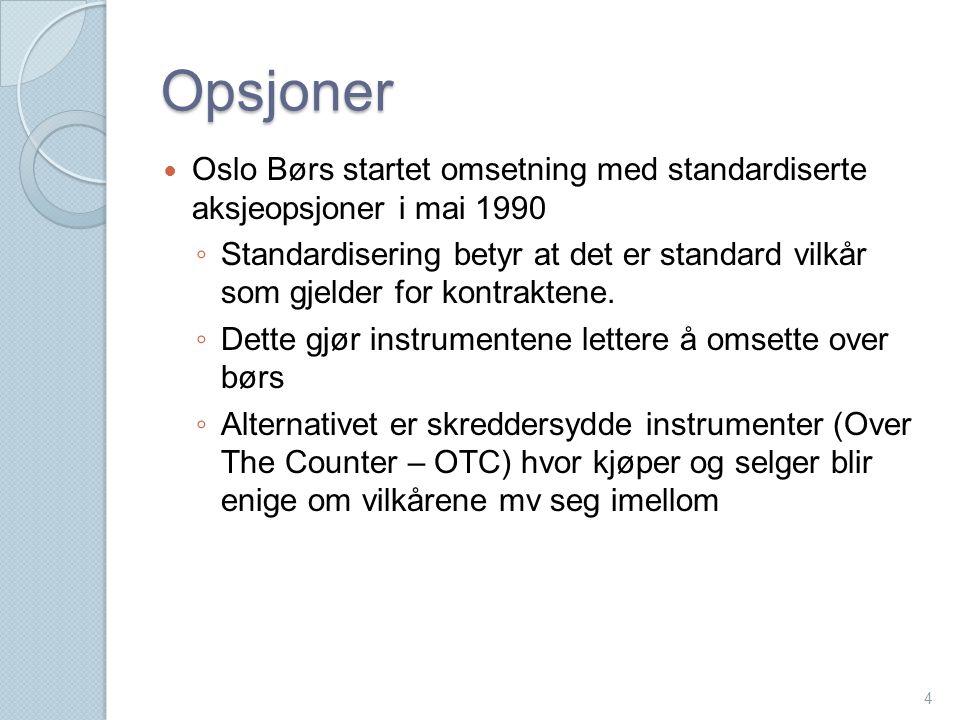 Opsjoner Oslo Børs startet omsetning med standardiserte aksjeopsjoner i mai 1990.