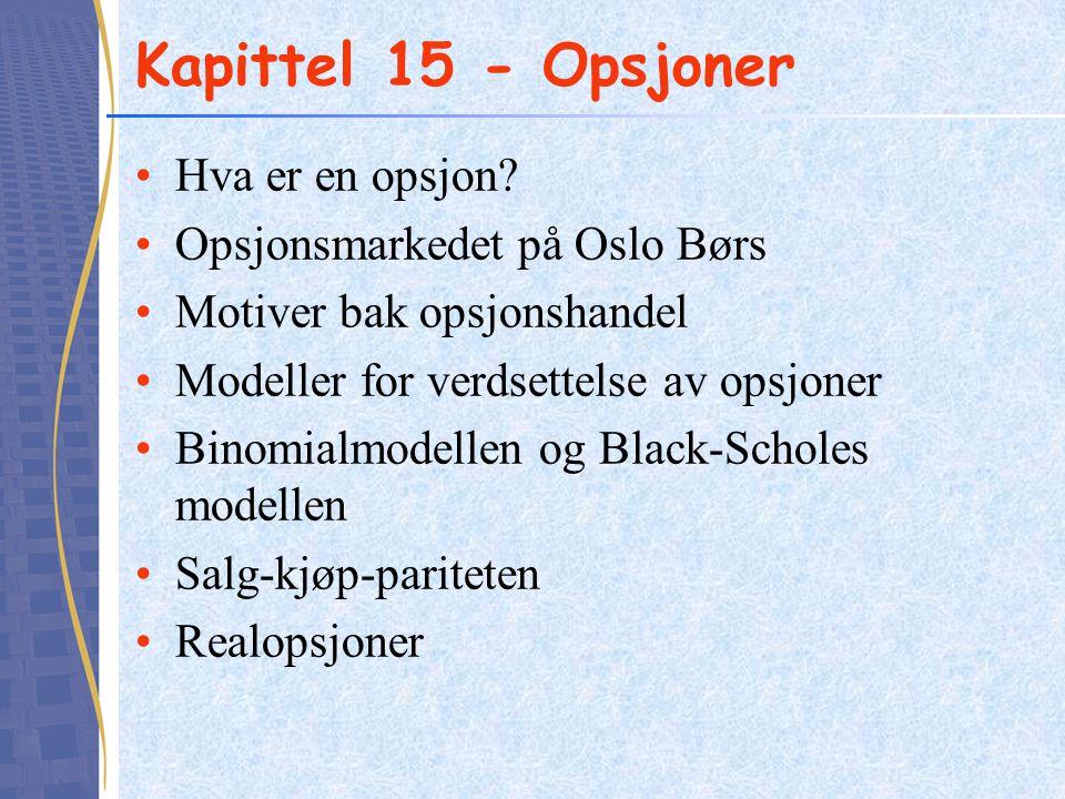 Kapittel 15 - Opsjoner Hva er en opsjon Opsjonsmarkedet på Oslo Børs