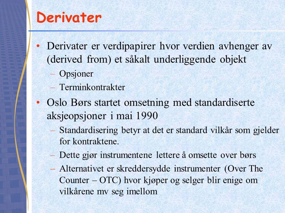 Derivater Derivater er verdipapirer hvor verdien avhenger av (derived from) et såkalt underliggende objekt.