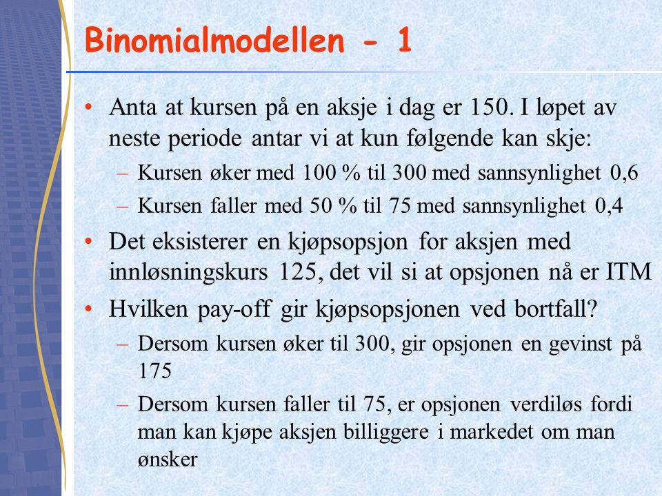 Binomialmodellen - 1 Anta at kursen på en aksje i dag er 150. I løpet av neste periode antar vi at kun følgende kan skje: