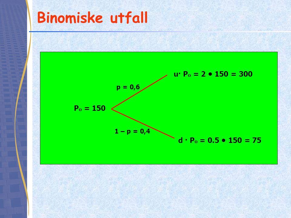 Binomiske utfall u· Po = 2 • 150 = 300 Po = 150