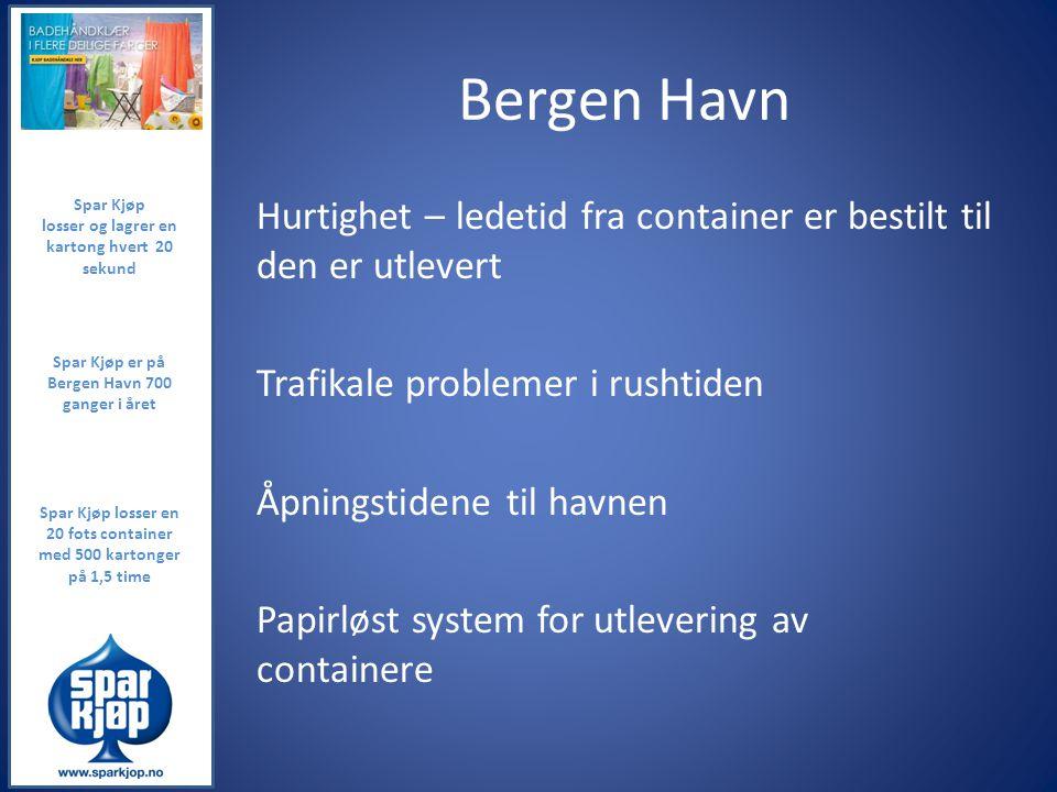 Bergen Havn Spar Kjøp. losser og lagrer en kartong hvert 20 sekund.