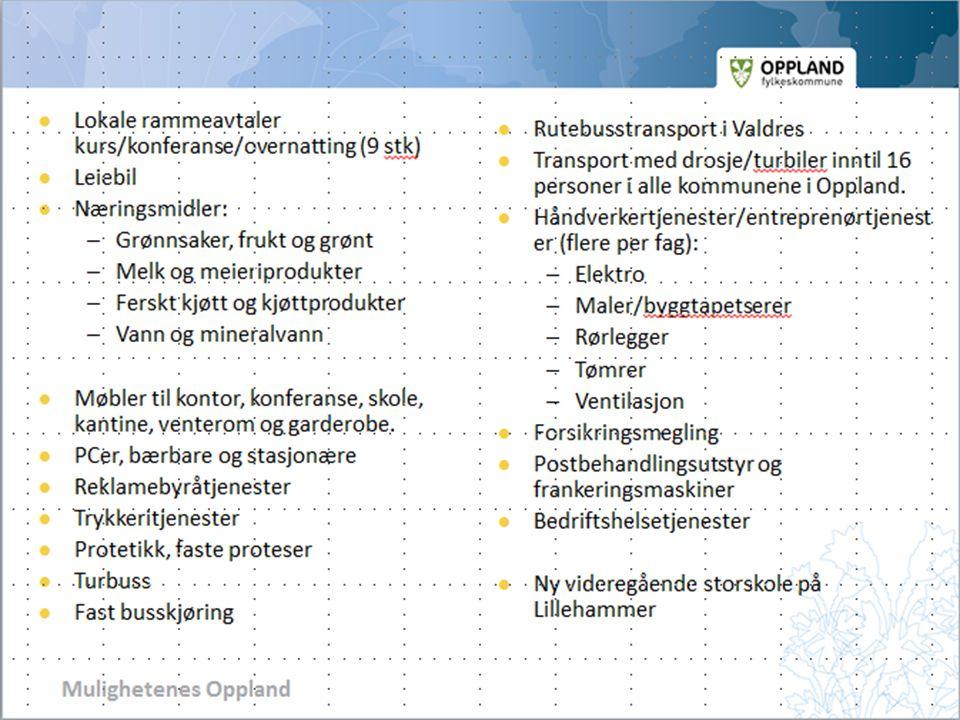 Lokale rammeavtaler kurs/konferanse/overnatting (9 stk)