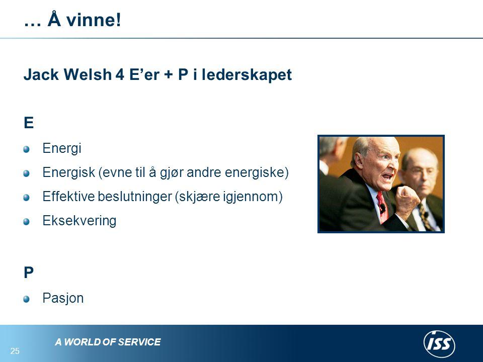 … Å vinne! Jack Welsh 4 E'er + P i lederskapet E P Energi