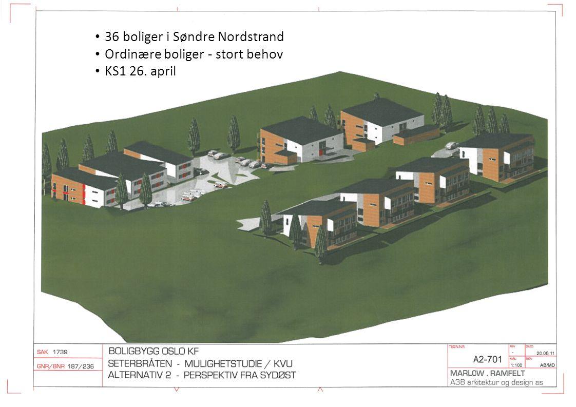 36 boliger i Søndre Nordstrand Ordinære boliger - stort behov