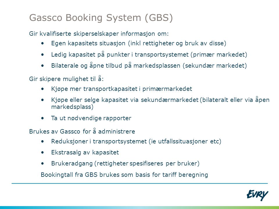 Gassco Booking System (GBS)
