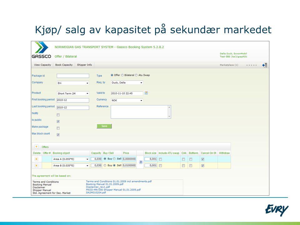 Kjøp/ salg av kapasitet på sekundær markedet
