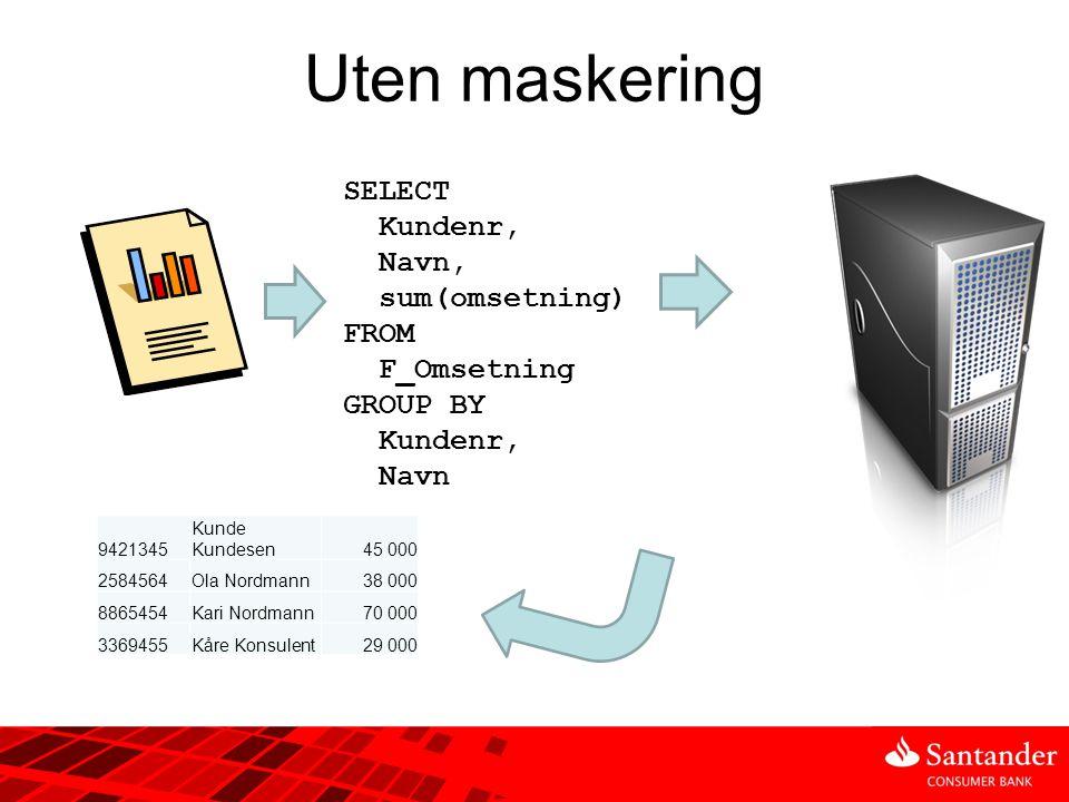Uten maskering SELECT Kundenr, Navn, sum(omsetning) FROM