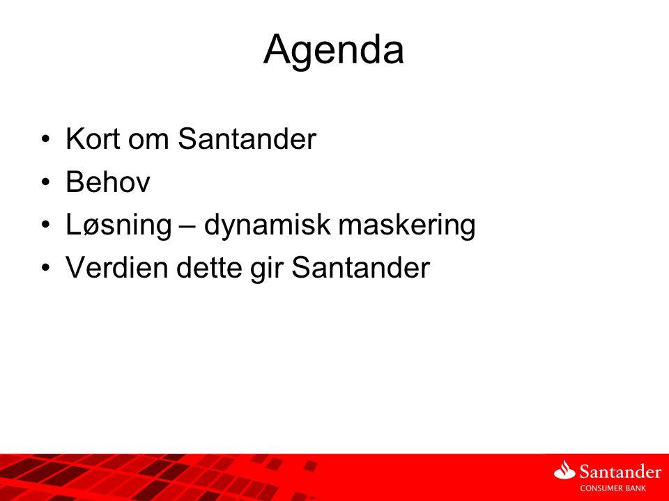 Agenda Kort om Santander Behov Løsning – dynamisk maskering