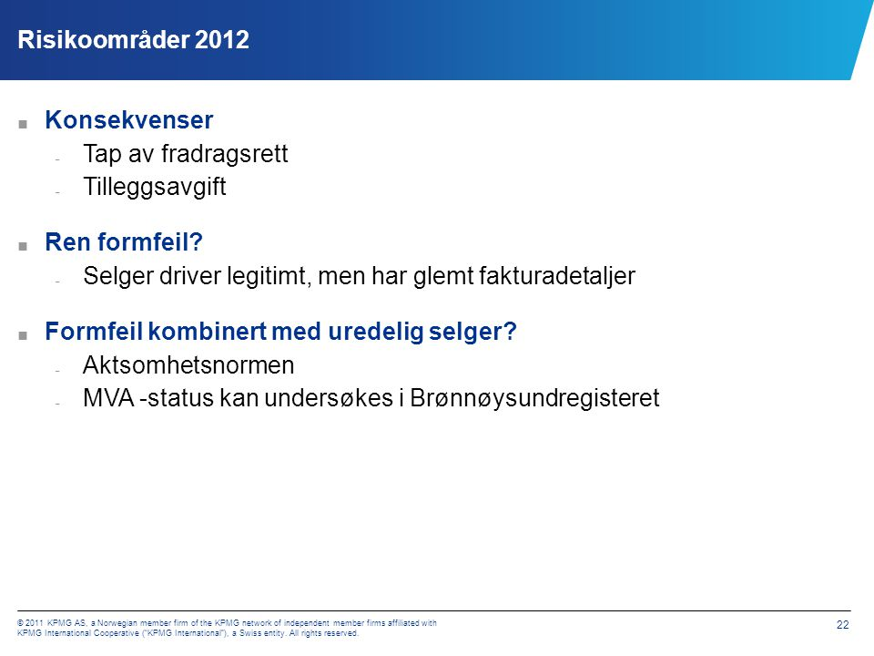 Risikoområder 2012 – Fradragsrett øvrige områder