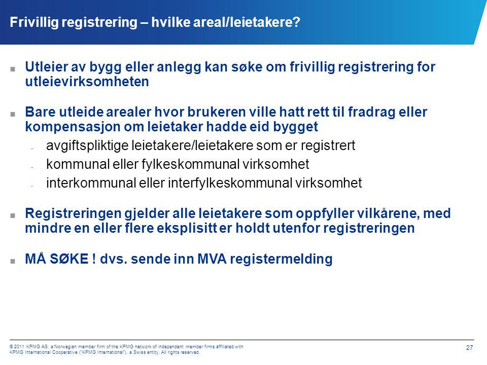 Frivillig registrering – dokumentasjon