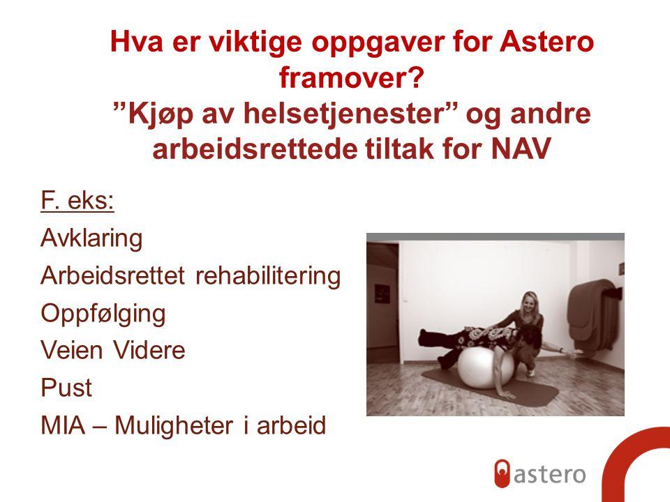 Hva er viktige oppgaver for Astero framover