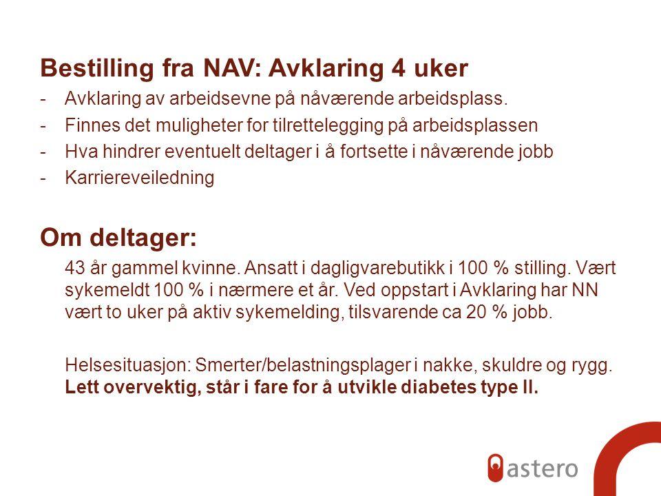 Bestilling fra NAV: Avklaring 4 uker