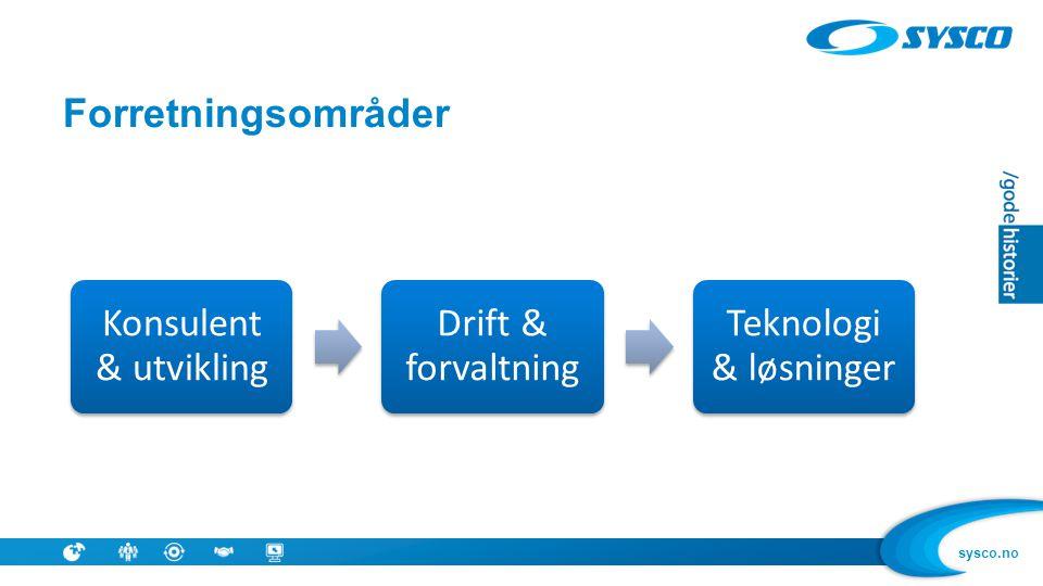 Forretningsområder Konsulent & utvikling Drift & forvaltning Teknologi & løsninger