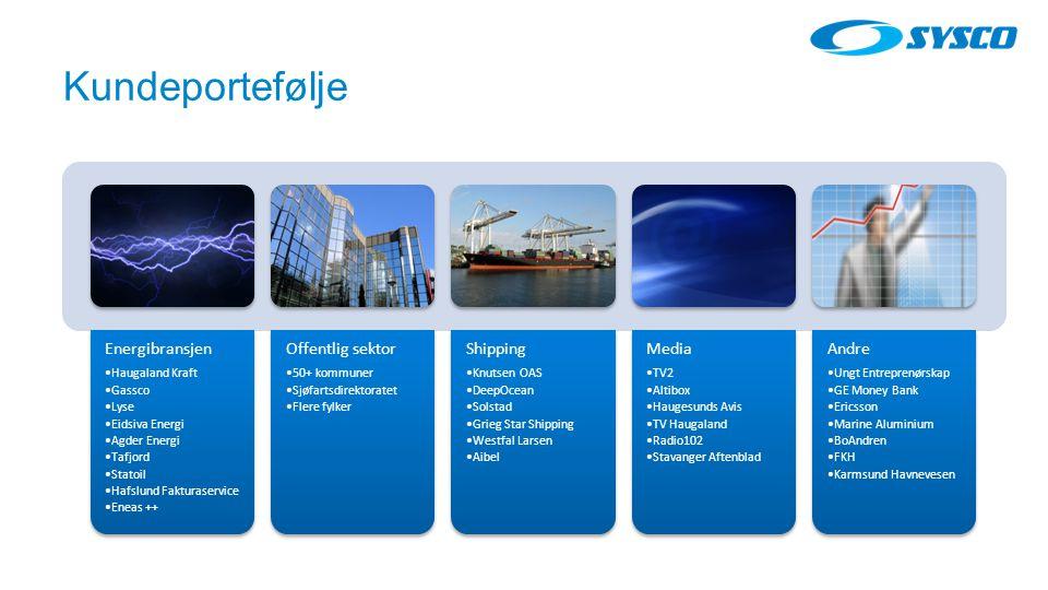 Kundeportefølje Energibransjen Offentlig sektor Shipping Media Andre