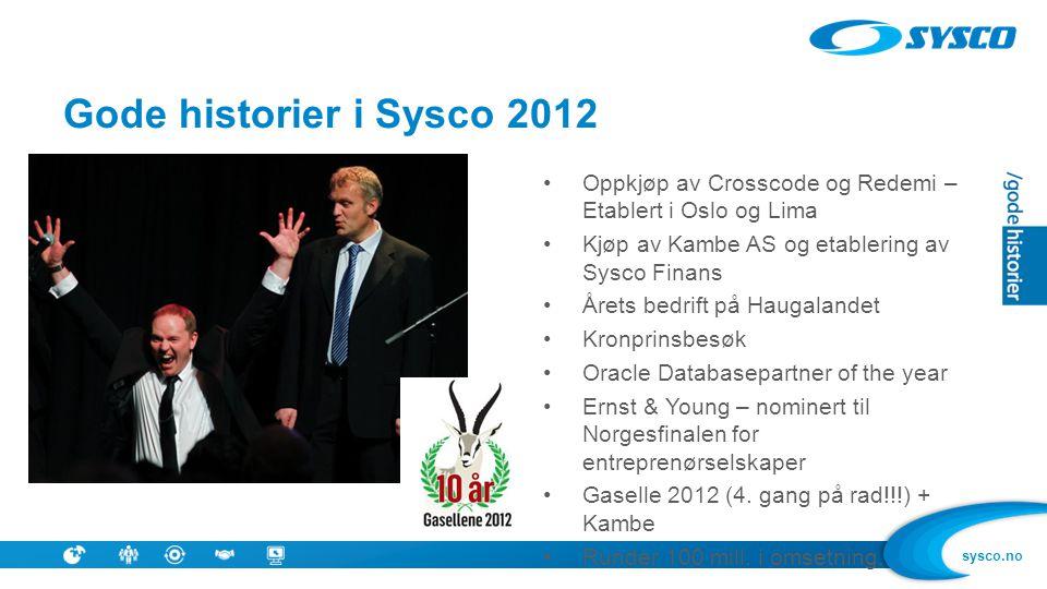 Suksess Gode historier i Sysco 2012. Oppkjøp av Crosscode og Redemi – Etablert i Oslo og Lima. Kjøp av Kambe AS og etablering av Sysco Finans.