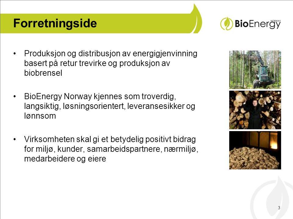 Forretningside Produksjon og distribusjon av energigjenvinning basert på retur trevirke og produksjon av biobrensel.