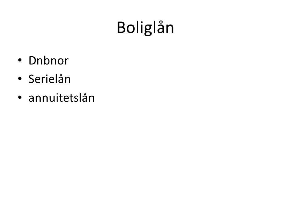 Boliglån Dnbnor Serielån annuitetslån