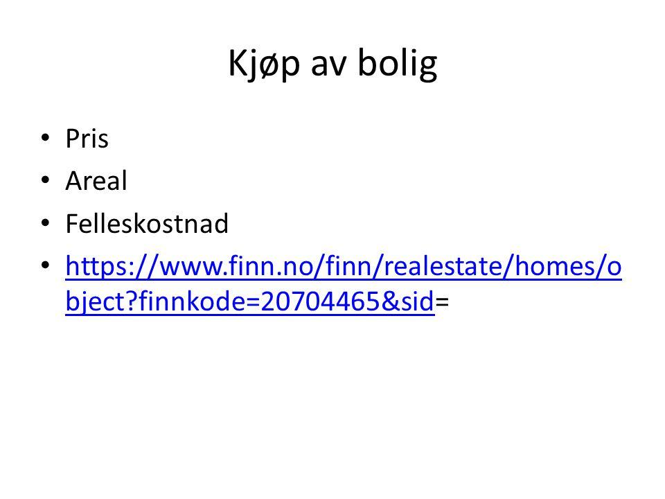 Kjøp av bolig Pris Areal Felleskostnad