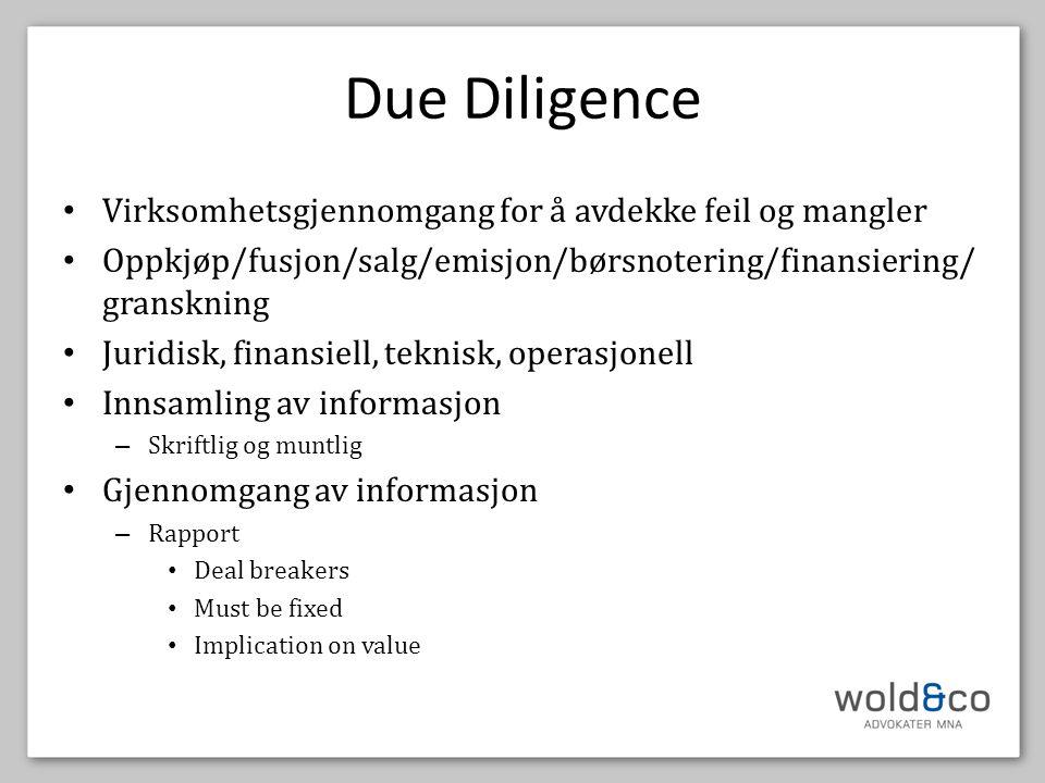 Due Diligence Virksomhetsgjennomgang for å avdekke feil og mangler