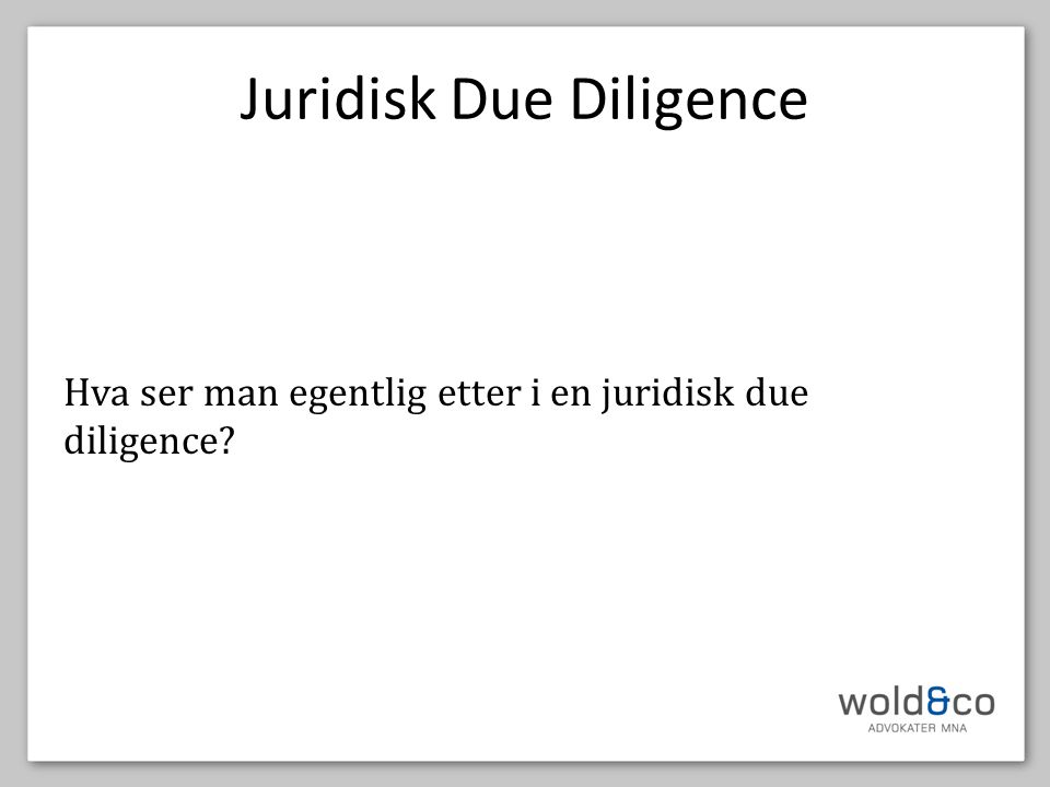 Juridisk Due Diligence