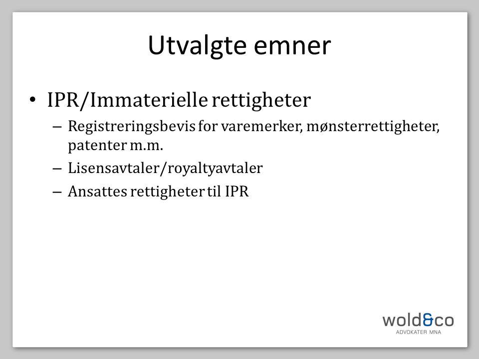 Utvalgte emner IPR/Immaterielle rettigheter