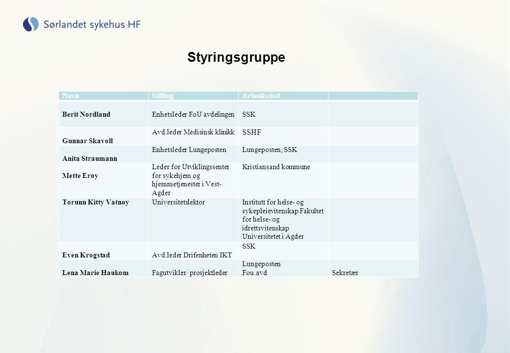 Styringsgruppe SSHF Navn Stilling Arbeidssted Berit Nordland