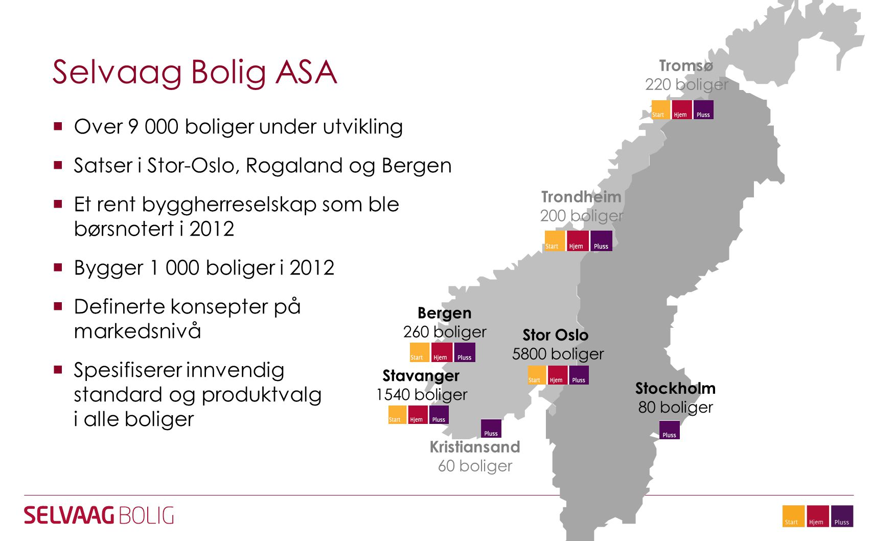Selvaag Bolig ASA Over 9 000 boliger under utvikling