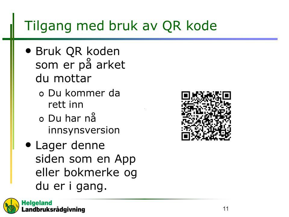 Tilgang med bruk av QR kode
