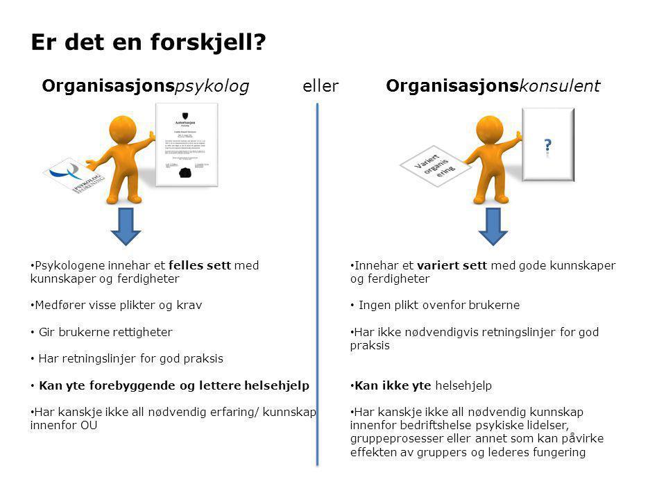 Er det en forskjell Organisasjonspsykolog eller Organisasjonskonsulent. Variert organisering.