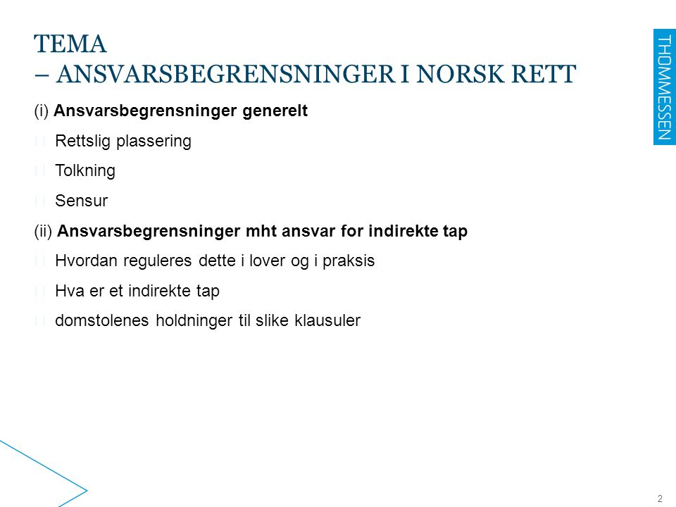 tema – ansvarsbegrensninger i norsk rett